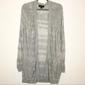 Mossimo Grey Ombré Stripe Long Open Front Cardigan